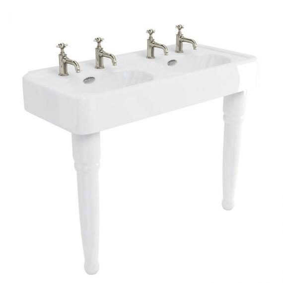 Arcade Console 1200mm Double Basin With Ceramic Legs - 2 Tap Holes