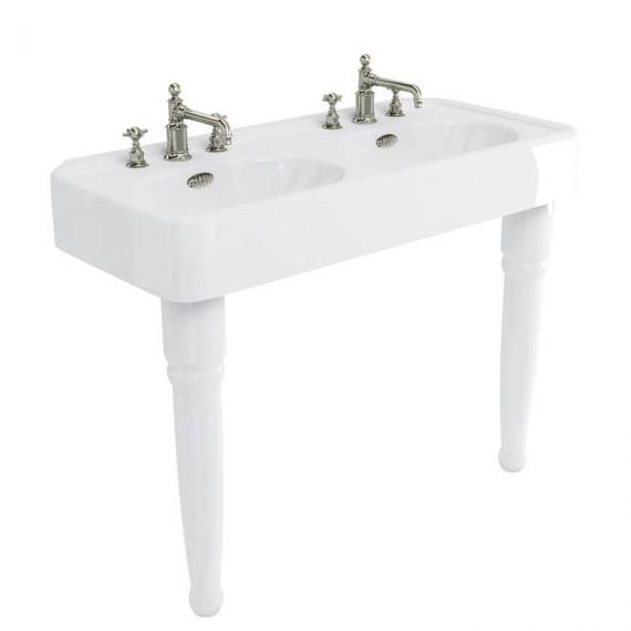 Arcade Console 1200mm Double Basin With Ceramic Legs - 3 Tap Holes
