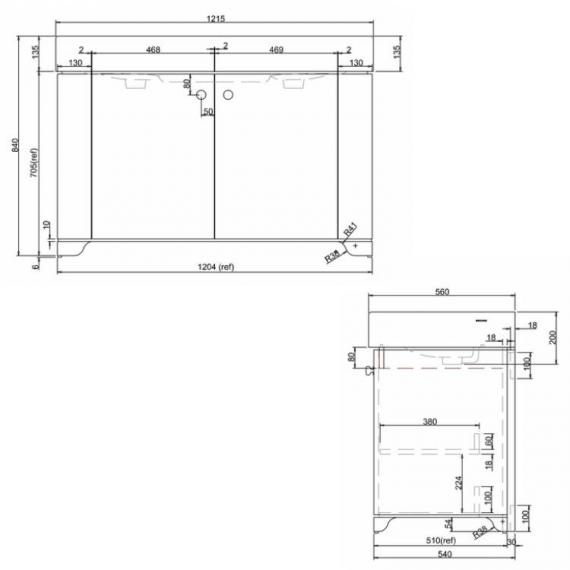 Arcade Sand 1200mm Floorstanding Vanity Unit Specification