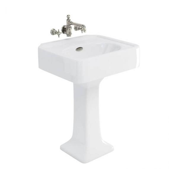 Arcade 600mm Basin With Pedestal - 0 Tap Holes