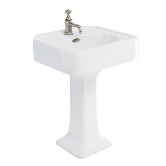 Arcade 600mm Basin With Pedestal - 1 Tap Holes