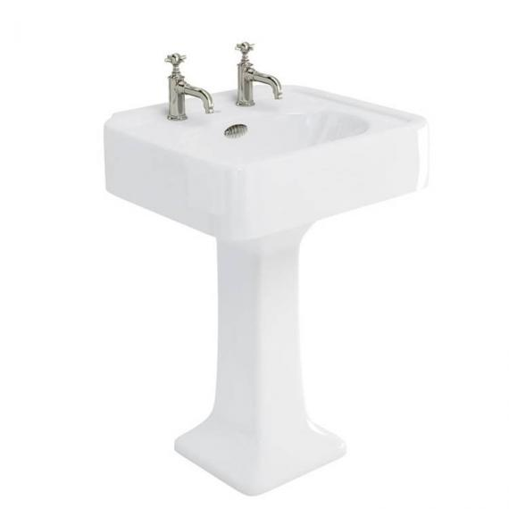 Arcade 600mm Basin With Pedestal - 2 Tap Holes