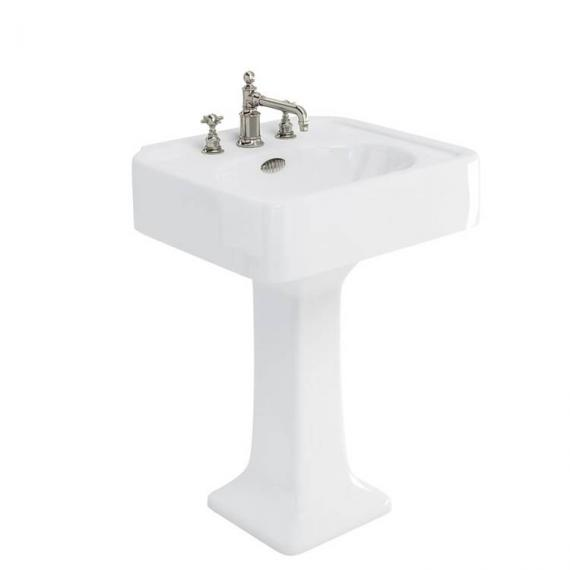 Arcade 600mm Basin With Pedestal - 3 Tap Holes