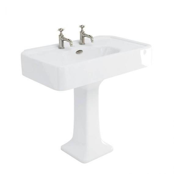 Arcade 900mm Basin With Pedestal - 2 Tap Holes