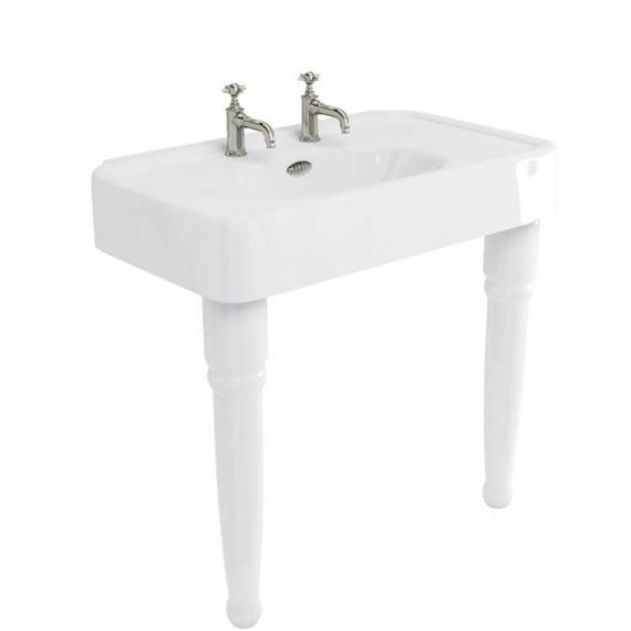 Arcade Console 900mm Basin With Ceramic Legs - 2 Tap Holes