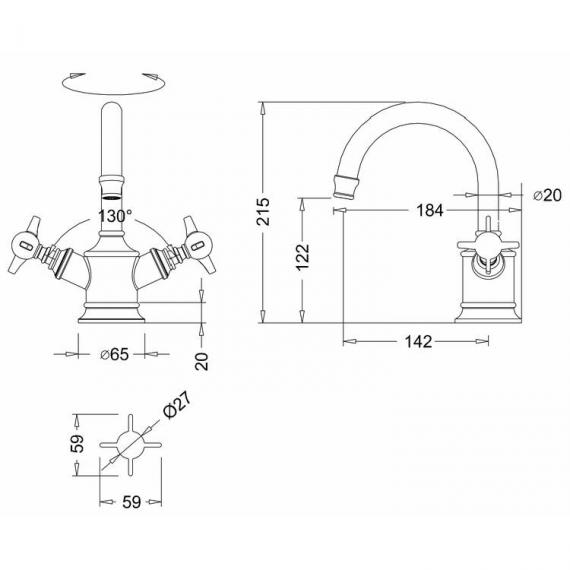 Arcade Nickel Dual Lever Basin Mixer Specification