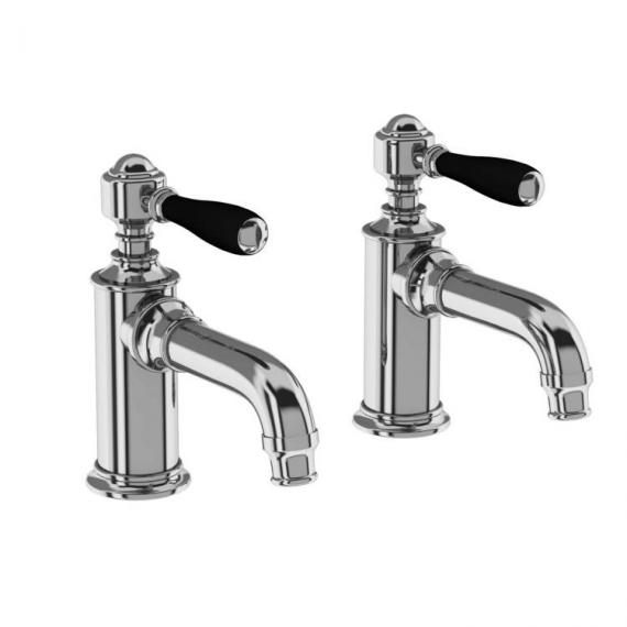 Arcade Chrome Basin Pillar Taps With Black, Chrome Or White Levers