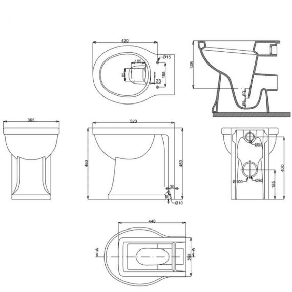 Arcade Back To Wall Toilet Specification