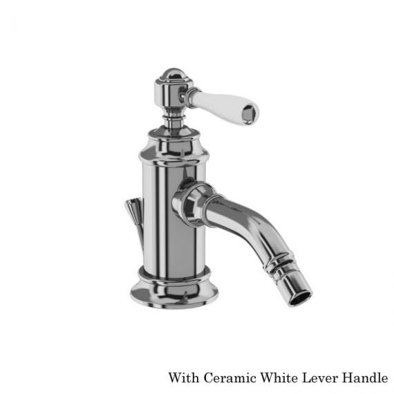 Arcade Chrome Bidet Monobloc Mixer With  White Lever Handle