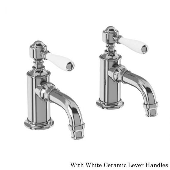Arcade Chrome Cloakroom Basin Taps With White Lever Handles