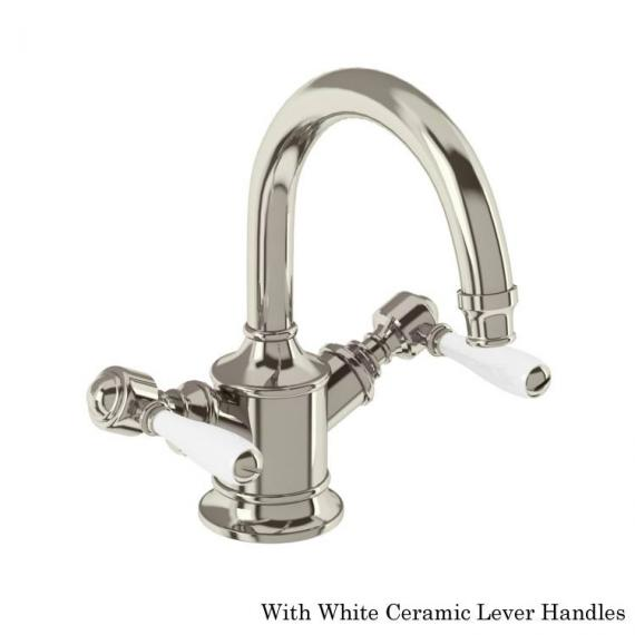 Arcade Nickel Dual Lever Basin Mixer With White Handles