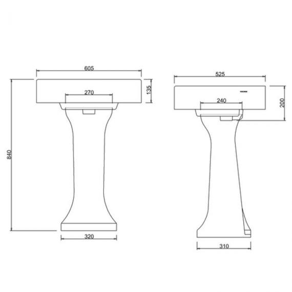 Arcade 900mm Basin With Pedestal Specification