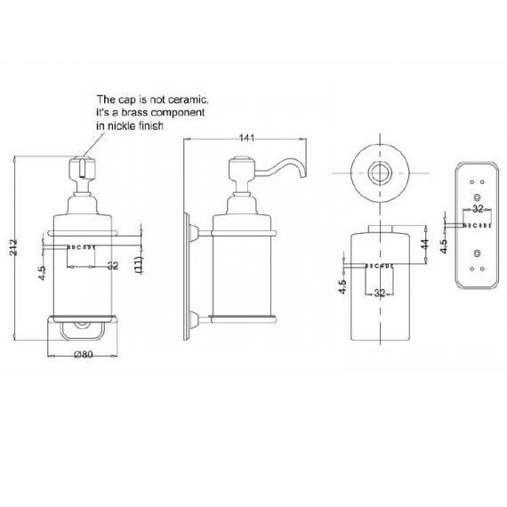 Arcade Nickel Soap Dispenser Specification