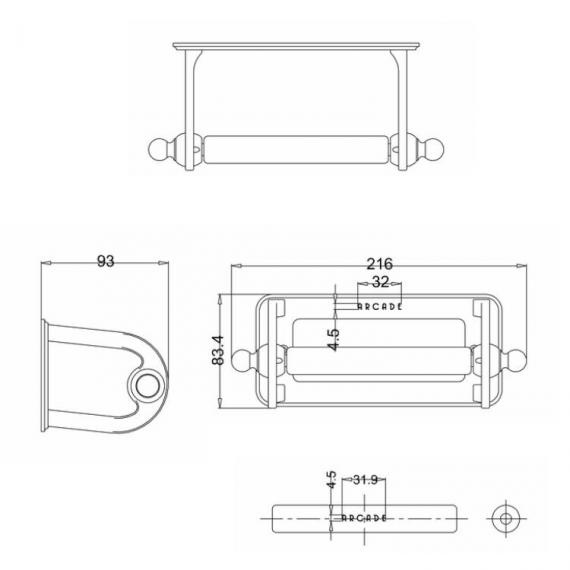 Arcade Chrome Toilet Roll Holder Specification