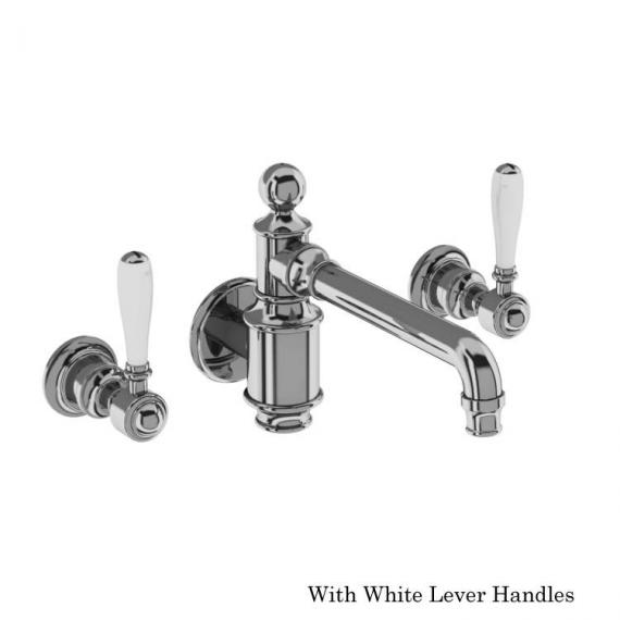 Arcade Chrome Wall Mounted Basin Mixer With White Levers