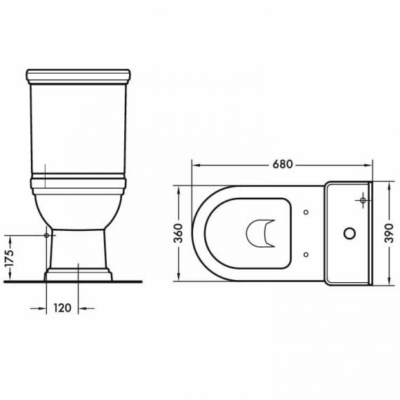 Aristo Close Coupled Traditional Toilet Specification
