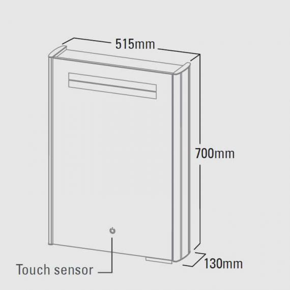 Roper Rhodes Touch Aluminium Mirror Cabinet With Heated Demister - Spec