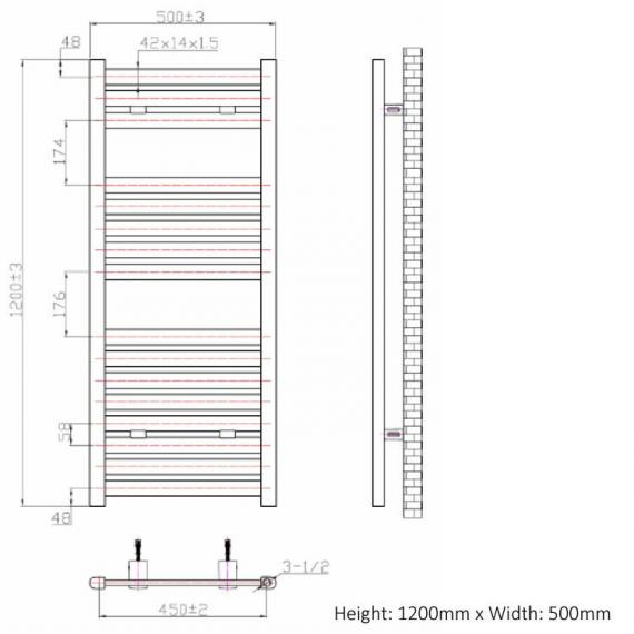 Phoenix Ascot 500mm Chrome Electric Radiator - 1200 x 500 spec