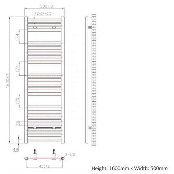Phoenix Ascot 500mm Chrome Electric Radiator - 1600 x 500 spec