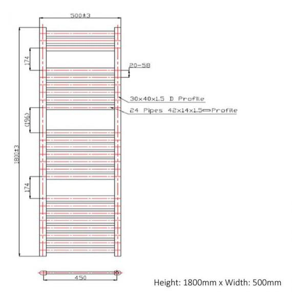 Phoenix Ascot 500mm Chrome Electric Radiator - 1800 x 500 spec