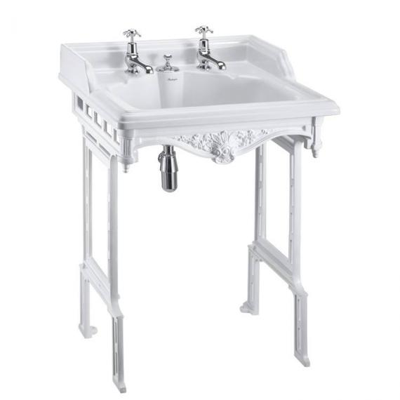 Burlington Classic Basin With Invisible Overflow & Waste With White Aluminium Wash Stand