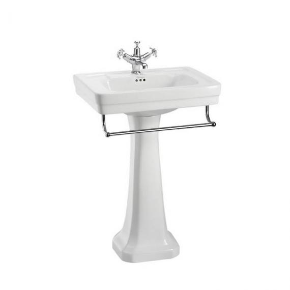 Burlington Contemporary Medium 58cm Basin, Pedestal &  Optional Towel Rail