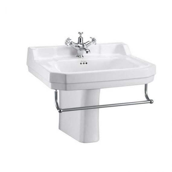 Burlington Edwardian Large 61cm Basin With Semi Pedestal with towel rail