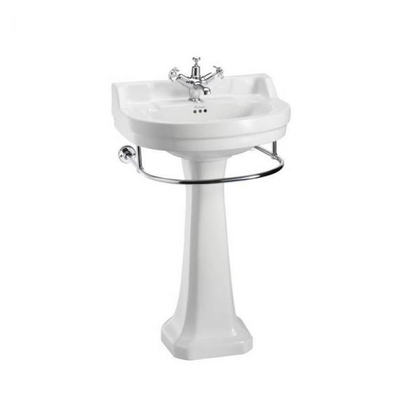 Burlington Edwardian Round Regal Medium 56cm Basin, Pedestal & Towel Rail