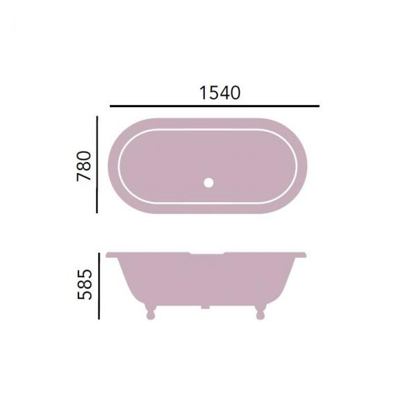 Heritage Baby Buckingham Freestanding Cast Iron Roll Top Bath & Feet Specification