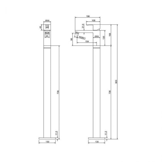 Crystal Single Lever Bath Filler With Floor Mounted Legs Specification