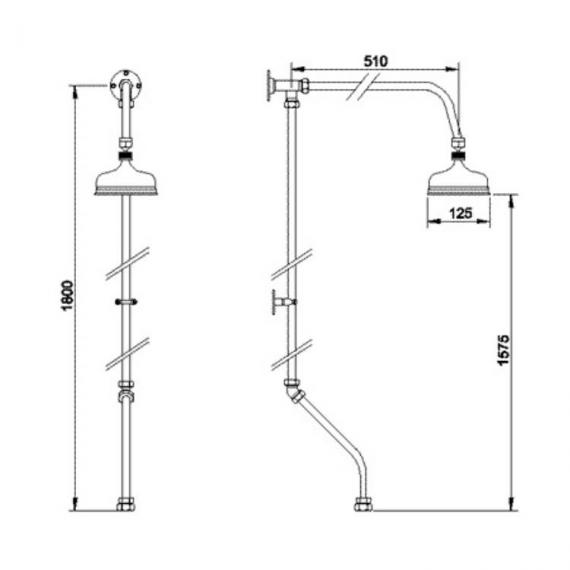 BC Designs Victrion Rigid Riser With Bath Shower Mixer Specification