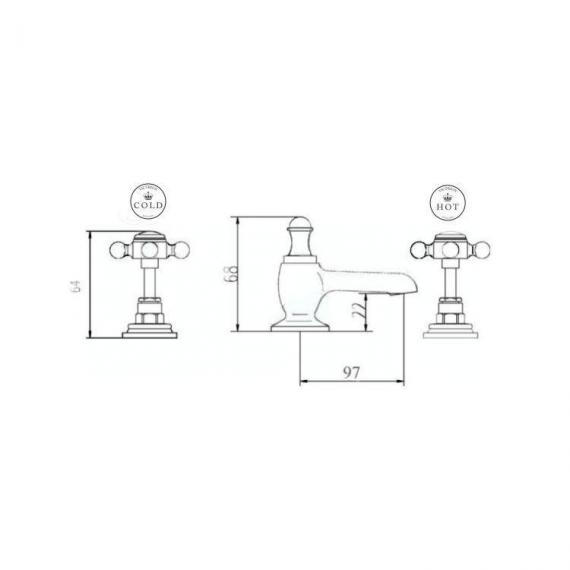 BC Designs Victrion Crosshead 3 Hole Basin Mixer Specification