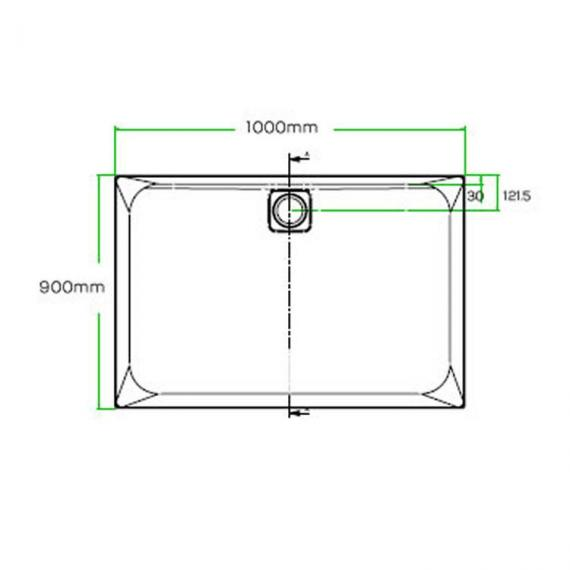 Blu-Gem2 1000 x 900mm Rectangle 25mm Shower Tray & Waste Specification