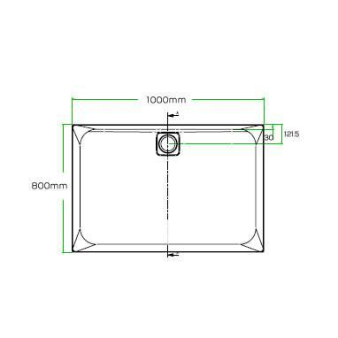Blu-Gem2 1000 x 800mm Rectangle 25mm Shower Tray & Waste Specification