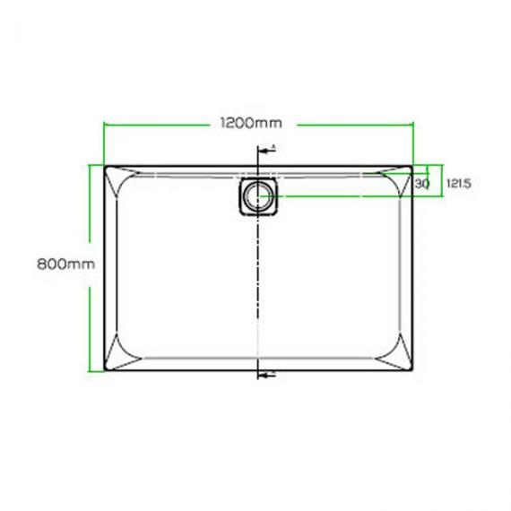 Blu-Gem2 1200 x 800mm Rectangle 25mm Shower Tray & Waste Specification