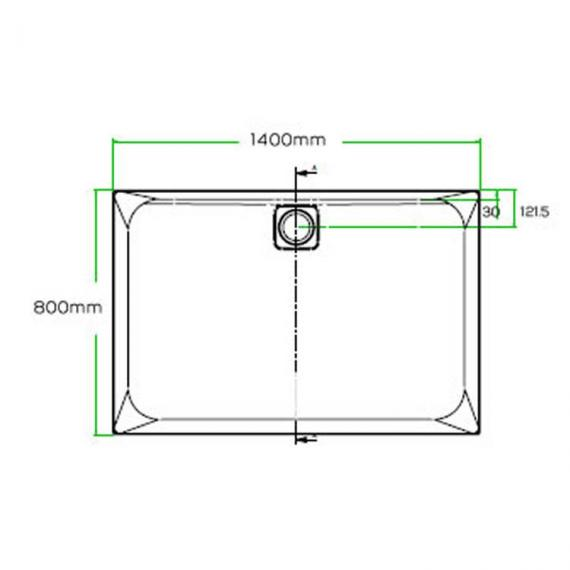 Blu-Gem2 1400 x 800mm Rectangle 25mm Shower Tray & Waste Specification