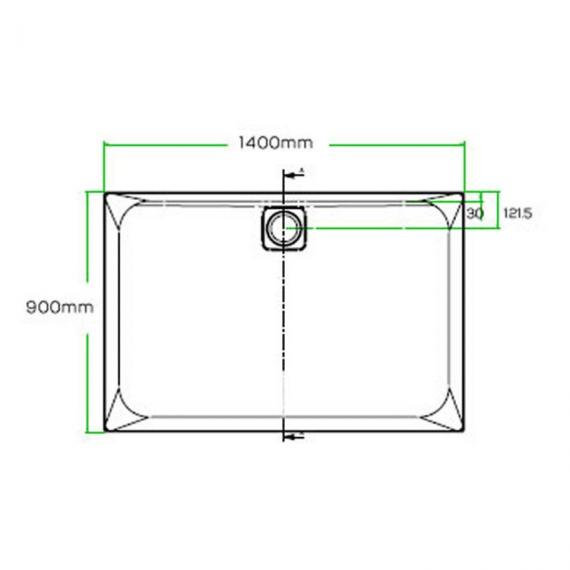 Blu-Gem2 1400 x 900mm Rectangle 25mm Shower Tray & Waste Specification
