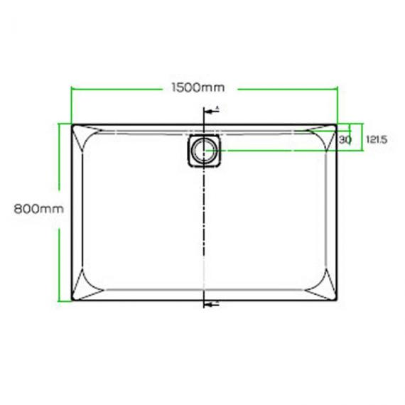 Blu-Gem2 1500 x 800mm Rectangle 25mm Shower Tray & Waste Specification