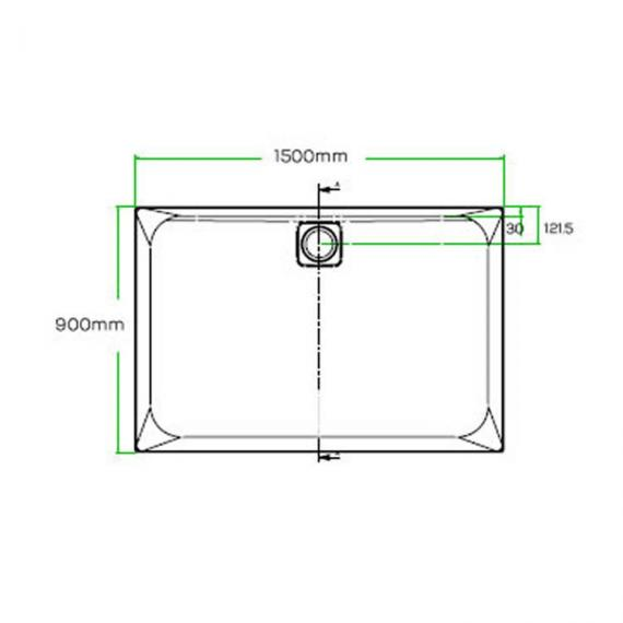 Blu-Gem2 1500 x 900mm Rectangle 25mm Shower Tray & Waste Specification