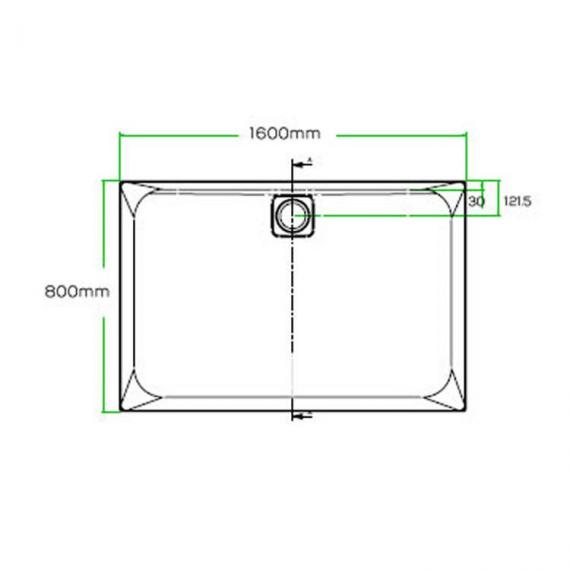 Blu-Gem2 1600 x 800mm Rectangle 25mm Shower Tray & Waste