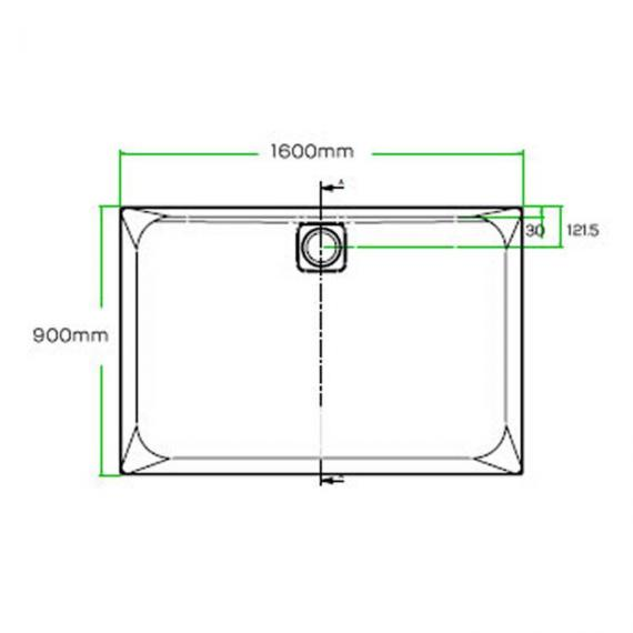 Blu-Gem2 1600 x 900mm Rectangle 25mm Shower Tray & Waste Specification
