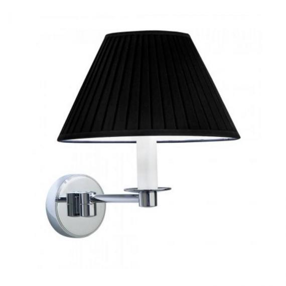 Imperial Brokton Wall Light With Round Flat Pleated Black Cotton Shade