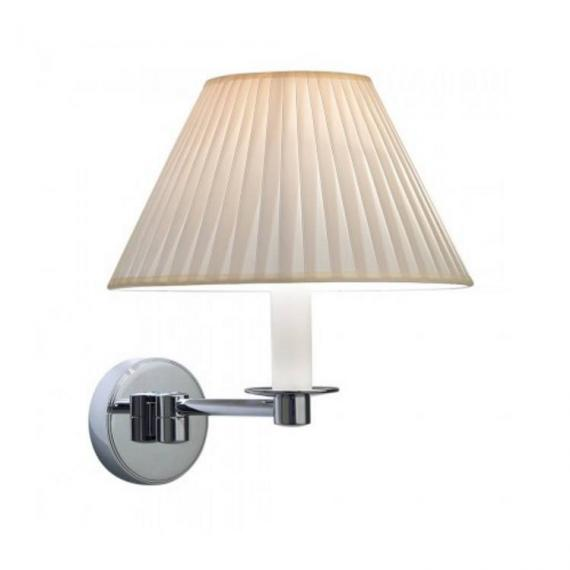 Imperial Brokton Wall Light With Round Flat Pleated Cream Cotton Shade
