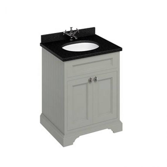Burlington Olive 670mm Freestanding Vanity Unit With Minerva Worktop & Basin olive unit black granite