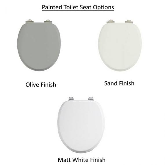 Burlington Regal Close Coupled Toilet With Front Button painted toilet seat option