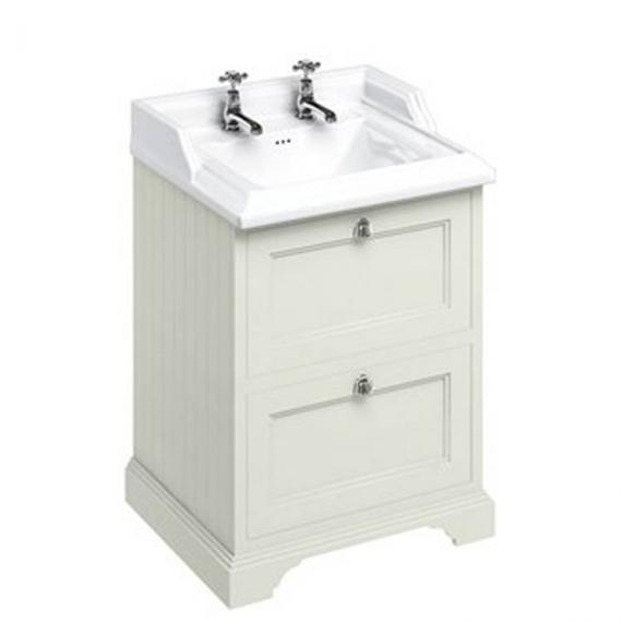 Burlington Sand 670mm Freestanding Vanity Unit With Drawers & Classic Basin - Image 2