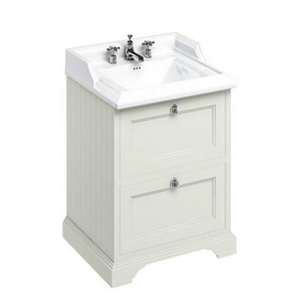 Burlington Sand 670mm Freestanding Vanity Unit With Drawers & Classic Basin - Image 3