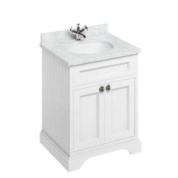 Burlington Matt White 670mm Freestanding Vanity Unit With Minerva Worktop & Basin - Image 4