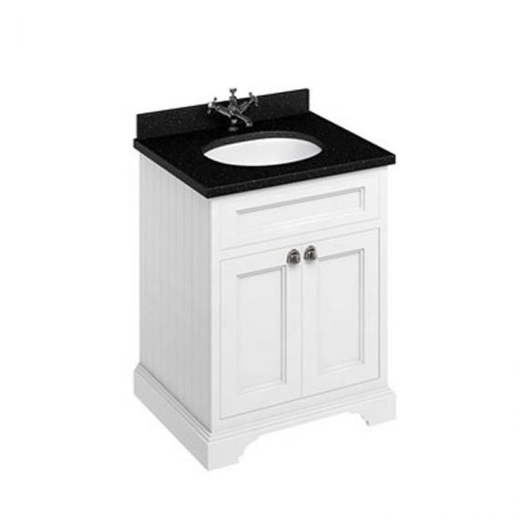Burlington Matt White 670mm Freestanding Vanity Unit With Minerva Worktop & Basin - Image 2