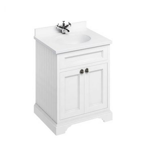 Burlington Matt White 670mm Freestanding Vanity Unit With Minerva Worktop & Basin